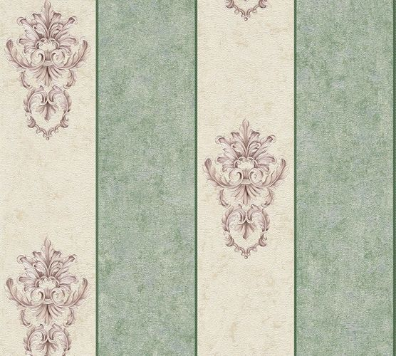 Non-woven wallpaper baroque stripes white green AP 34371-5 online kaufen