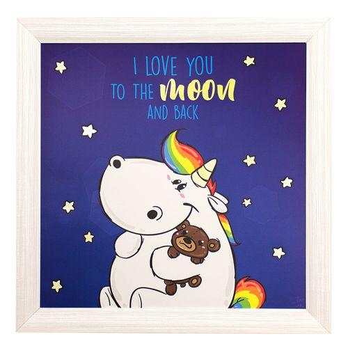 Wandbild Einhorn Pummeleinhorn Sterne Leuchtbild 50x50cm online kaufen