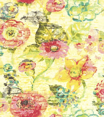 Wallpaper Rasch floral flower used yellow blue 803716