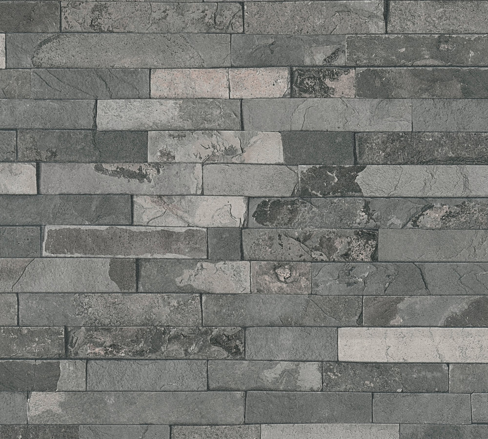 Wallpaper Stone Wall Style Used Dark Grey AS Creation 35582 4 001