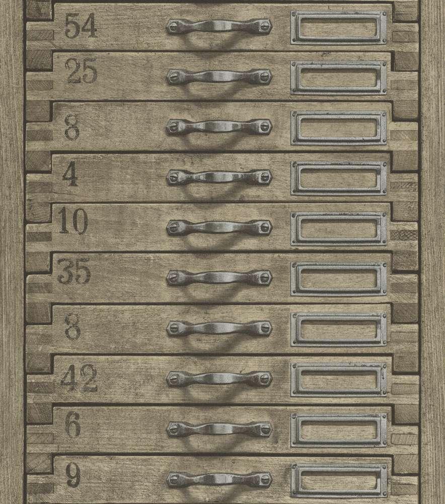 Wallpaper Rasch Vintage Schrank Grey Brown 938104
