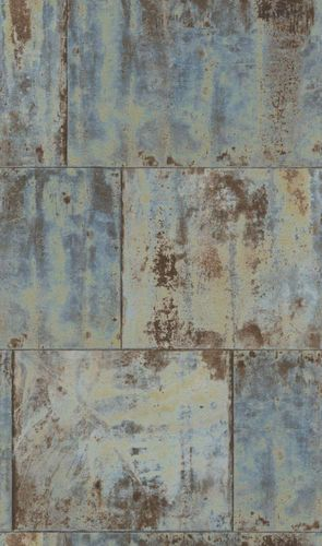 Wallpaper Rasch metal rust patina vintage blue 939712  online kaufen