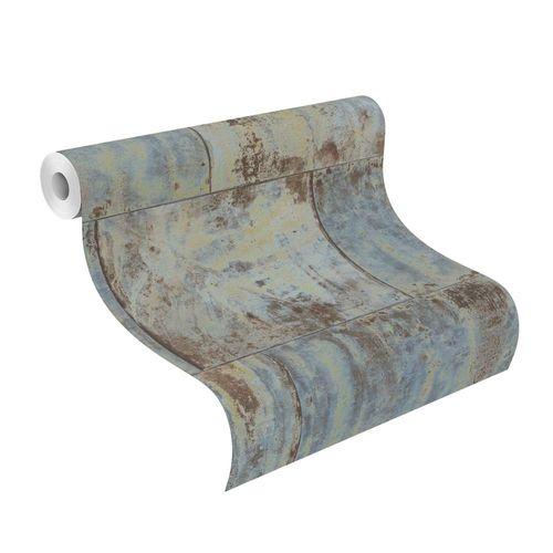 Wallpaper Rasch metal rust patina vintage blue 939712  online kaufen