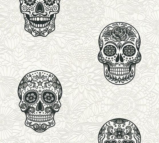 Wallpaper Sugar Skull death head white black 35817-1 online kaufen