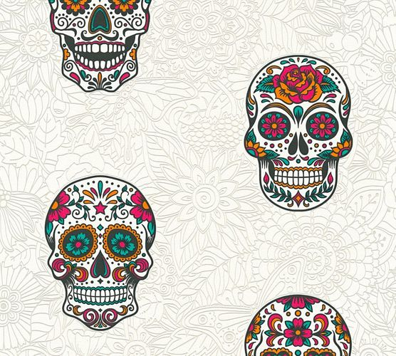 Wallpaper Sugar Skull death head white colourful 35817-2 online kaufen