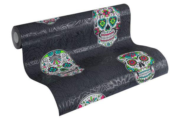 Kids Wallpaper Mandala Skull black green Gloss 35817-3 online kaufen