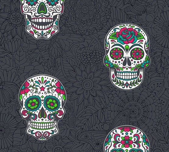 Wallpaper Sugar Skull death head black colourful 35817-3 online kaufen