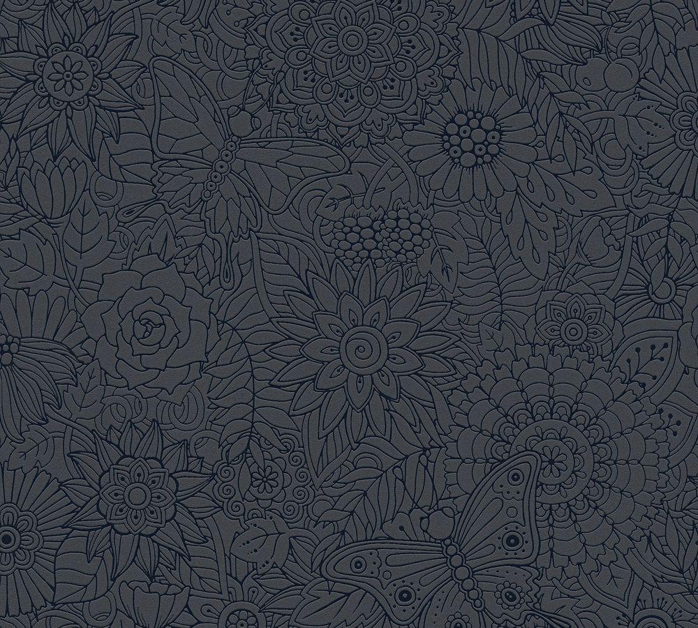 vliestapete blumen tropen pop art schwarz glanz 35816 2. Black Bedroom Furniture Sets. Home Design Ideas