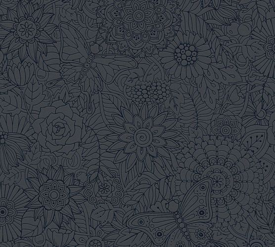 Kids Wallpaper Mandala Flowers black Gloss 35816-2