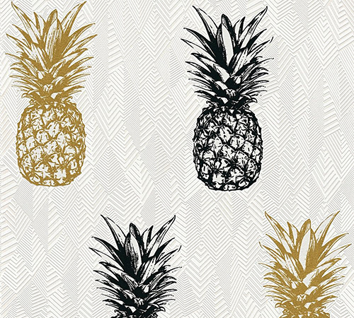Non-Woven Wallpaper Pineapple black gold Gloss 35997-1 online kaufen