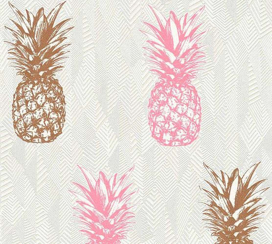 Non-Woven Wallpaper Pineapple copper rose Gloss 35997-3 online kaufen