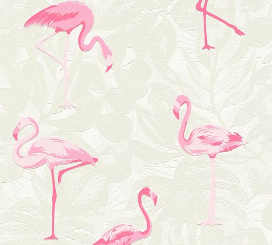 Kids Wallpaper Flamingos Leaves green rose Gloss 35980-1