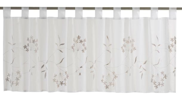 Half Curtain transparent Cappellini floral white brown 198619 online kaufen
