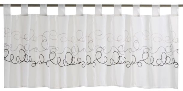 Half Curtain transparent Curly graphic black white 198640 online kaufen