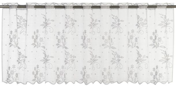 Half Curtain transparent Bouquet floral white 198756 online kaufen