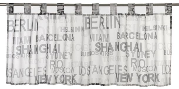 Half Curtain transparent City lettering black white 198800 online kaufen