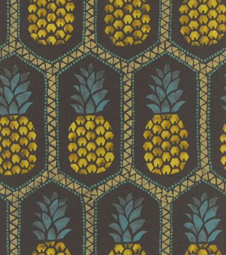 Wallpaper Barbara Becker bb pineapple anthracite gold 862140