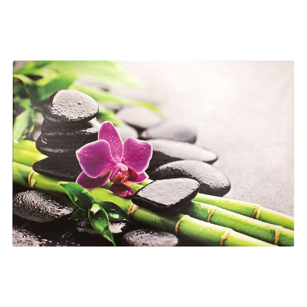 Canvas Picture Mural Bamboo Stones Orchid 78x118 Cm