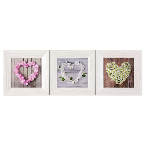 Set of 3 Framed Pictures flower hearts wood 23x23 cm online kaufen