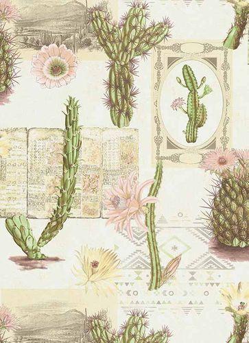 Wallpaper cactus floral ethno green purple 6312-05 online kaufen