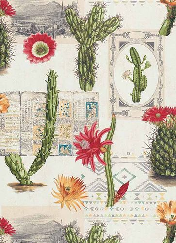 Wallpaper cactus floral ethno green red 6312-06 online kaufen
