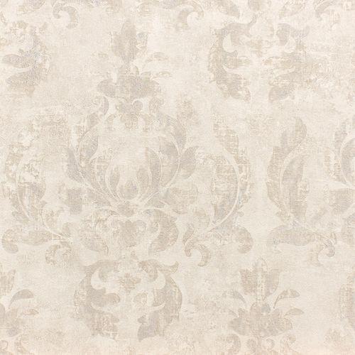 Vliestapete Rasch Ornament weiß silber Glanz 467406