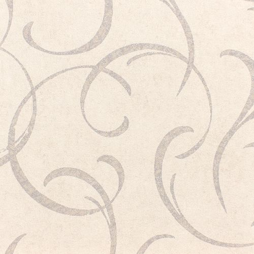 Wallpaper Rasch tendril vintage grey white gloss 467604