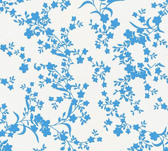 Wallpaper Esprit Home floral leaf white blue 35753-2