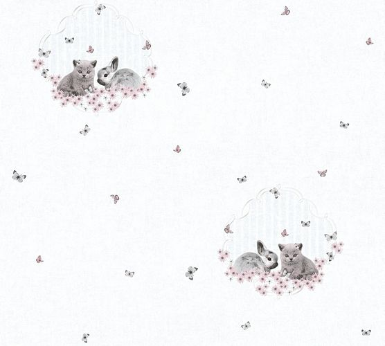 Kids Wallpaper cats rabbits light grey rose gloss 35564-2 online kaufen