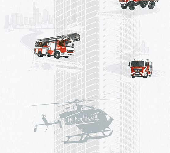 Kids Wallpaper fire fighter grey red gloss 35813-2