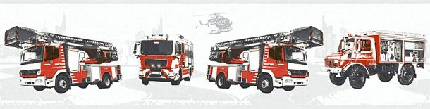 Kids Wallpaper Border fire fighter white red 35814-1