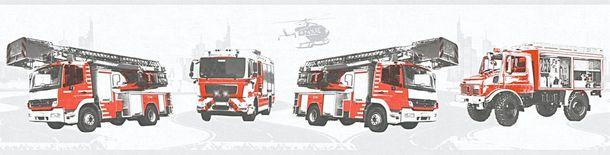Kinder Bordüre Feuerwehr Autos hellgrau rot 35814-2 online kaufen
