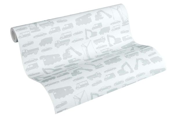Kids Wallpaper cars trucks loader light grey 35815-1 online kaufen