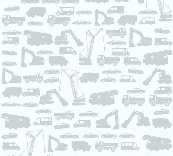 Kids Wallpaper cars trucks loader light grey 35815-1