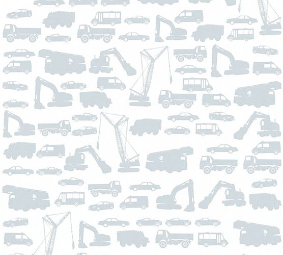 Kids Wallpaper cars trucks loader white grey 35815-2