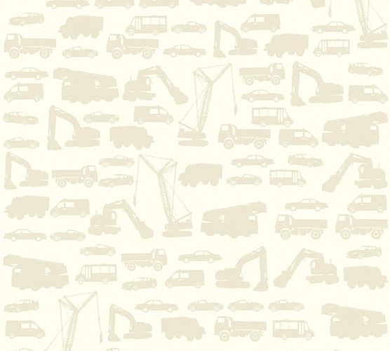 Kids Wallpaper cars trucks loader cream beige 35815-3 online kaufen