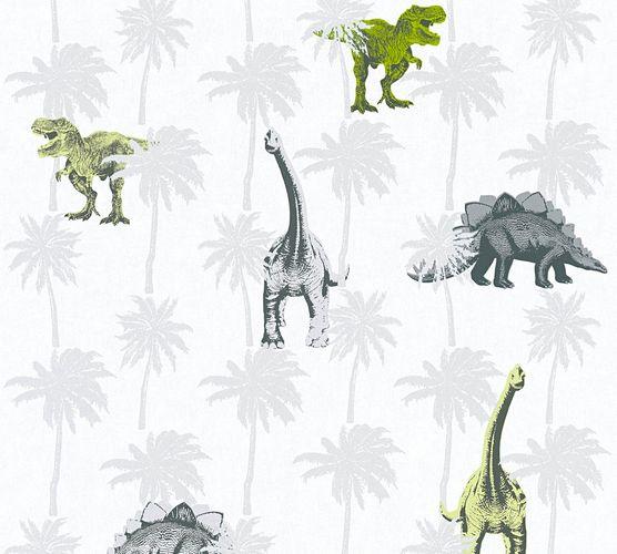 Kindertapete Dinosaurier Tiere weiß grün 35835-2 online kaufen