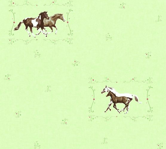 Kids Wallpaper horse pony green brown gloss 35837-1