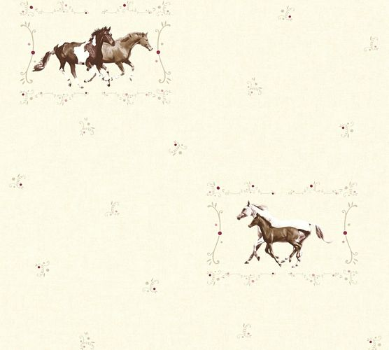 Kids Wallpaper horse pony cream brown gloss 35837-2