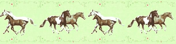 Kids Wallpaper Border horse pony green brown 35838-1 online kaufen