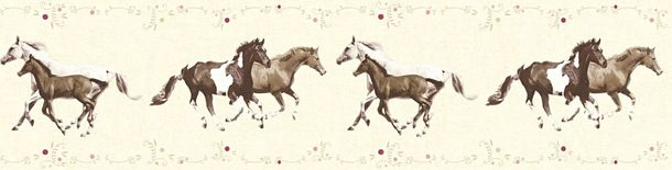 Kids Wallpaper Border horse pony cream brown 35838-2