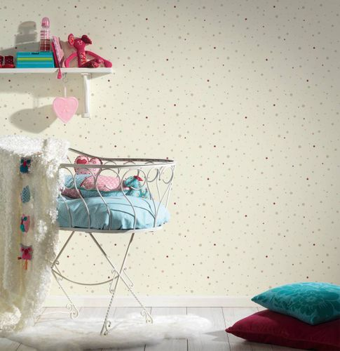 Kids Wallpaper dots dotted cream pink gloss 35839-4 online kaufen
