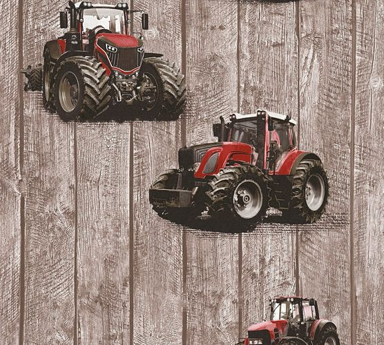 Kids Wallpaper tractor wooden brown red 35840-1