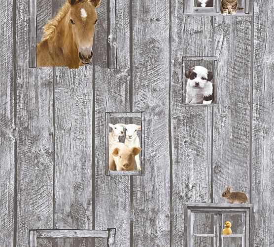 Kids Wallpaper horse dog sheep grey brown 35842-1 online kaufen