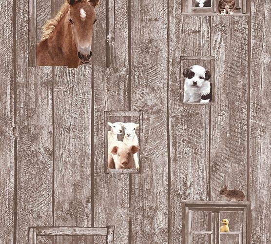 Kindertapete Pferd Hund Schaf braun beige 35842-2 online kaufen