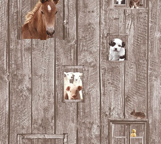 Kids Wallpaper horse dog sheep brown beige 35842-2