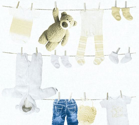 Kids Wallpaper teddy clothing white beige 35844-1