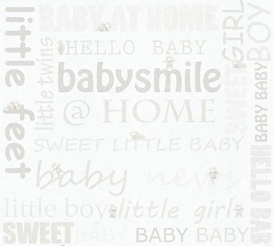 Kids Wallpaper teddy letters white light grey gloss 35847-1