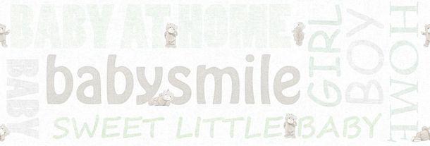 Kids Wallpaper Border teddy letters white mint gloss 35848-1