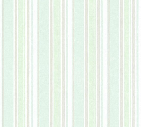 Kids Wallpaper stripes striped light green silver gloss 35849-1